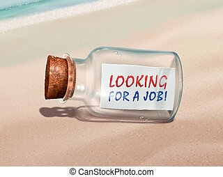 looking for a job message in a bottle