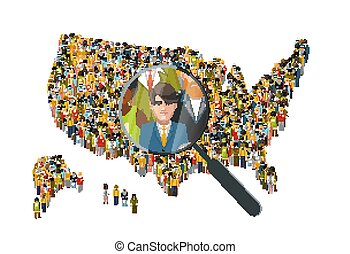 Looking for a man with magnifying glass in International crowd of people standing in USA map silhouette, HR concept illustration on white