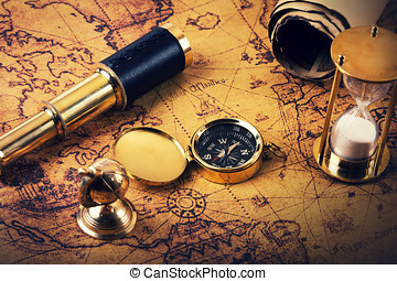 looking for adventures concept - vintage navigation items