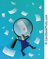 Looking for Business Papers - Business Man Searching ...