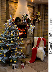 Looking for Christmas - Image of empty room decorated for...