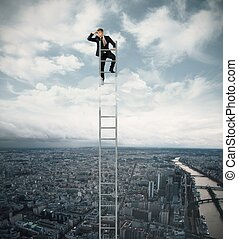 Businessman looking fo job on a stairs