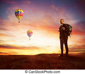 Looking for new business - Businessman with explorer...