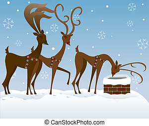 Three of Santa's reindeer on a snowy rooftop, looking to see if he's down in a chimney