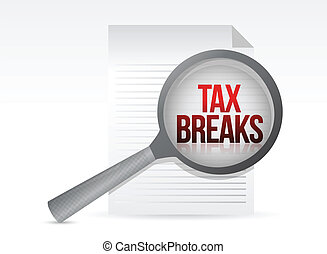 looking for tax breaks. Under a magnifier. Illustration...
