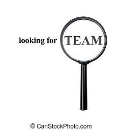 Looking for team with magnify glass isolated on white...