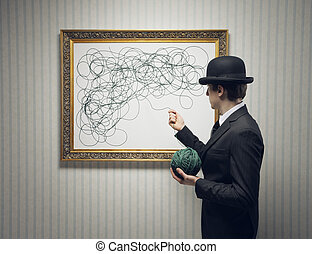 Looking for the solution - A young businessman looking for...