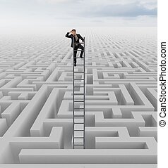 Looking for the solution of the maze - Businessman looking ...