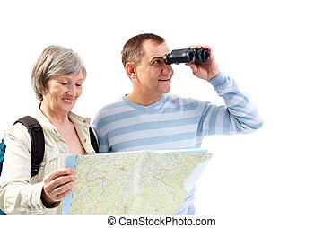 Looking for traveling - Portrait of happy senior couple...