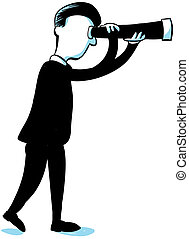 A cartoon businessman looks forward through a hand-held telescope.
