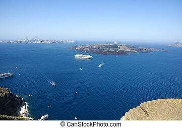 Looking from Santorini island into the Caldera