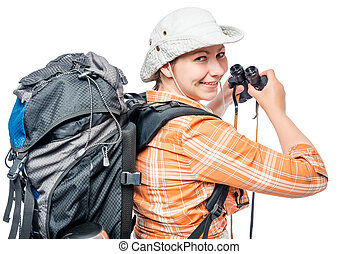 Looking girl with a backpack and binoculars on a white background close-up