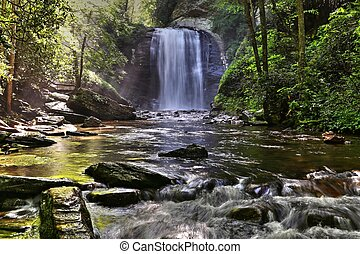 Looking Glass Falls Pisgah National Forest - Morning sun hit...