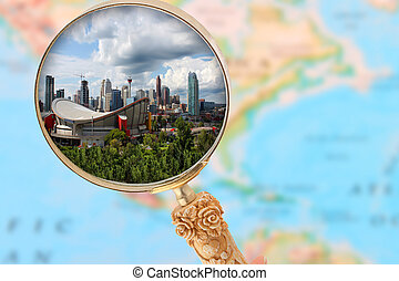 Calgary Alberta - Looking in on Calgary Alberta with blurred...