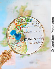 Looking in on Dublin, Ireland - Blue tack on map with...