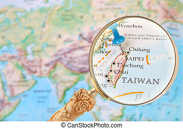 Looking in on Taipei, Taiwan - Blue tack on map of the world...