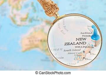 Looking in on Wellington, New Zealand - Blue tack on map...
