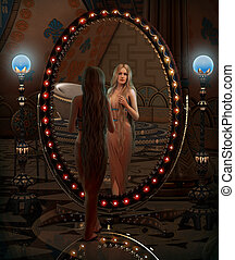 Looking in the Mirror, 3d CG - 3d computer graphics of a...