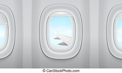 Looking In The Window On Wing Of An Airplane, Blue Cloudy Sky
