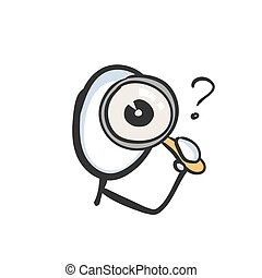 Looking into magnifying glass. Inspect, search and analyze detective. Hand drawn. Stickman cartoon. Doodle sketch, Vector graphic illustration