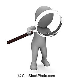 Looking Magnifier Character Showing Examining Scrutinize And Scrutiny