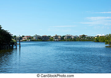 looking out across bay to florida homes