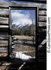 From inside the Moberly Homestead in Jasper National Park