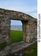 Looking Out the Window of St Andrew Castle Ruins