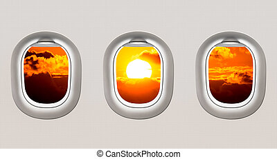 Looking out the windows of a plane to the Black sea and...