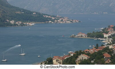 Looking over the Bay of Kotor in Montenegro with view of...