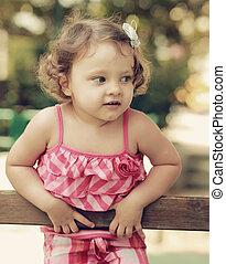 looking., pensare, vendemmia, bambino, ritratto, ragazza