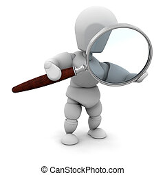 Looking through a magnifying glass - 3D render of someone...