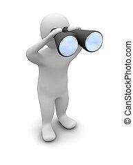 Looking through binoculars - Man looking through binoculars...