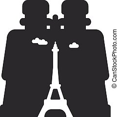 looking through binoculars Paris