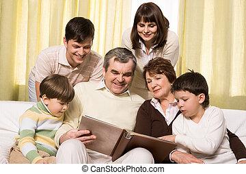 Looking through family album