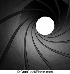 Looking through the barrel of a gun , 3d illustration