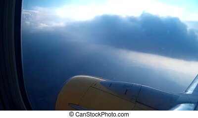 Looking through window of aircraft