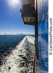 Looking to the Rear of a Large Ferry Boat