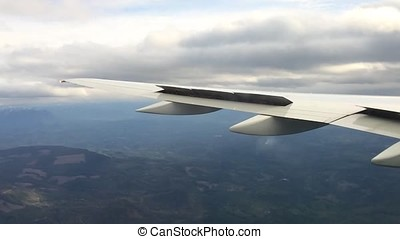 Looking trough window of an aircraft, airplane or plane...