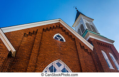 Looking up at a church in Abbottstown, Pennsylvania.