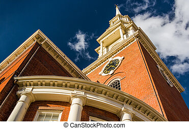 Looking up at a church in Boston, Massachusetts.