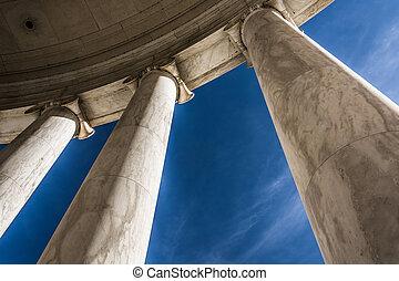 Looking up at columns at the Thomas Jefferson Memorial, Washington, DC.