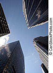 Manhattan Office Buildings - Looking up at Manhattan Office ...