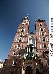 Looking up at Mariacki church, Krakow