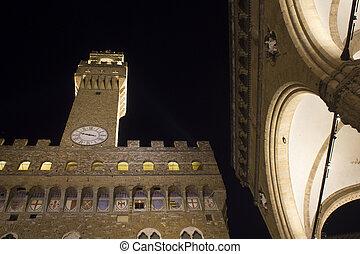 Palazzo Vecchio and Loggia dei Lanzi in Florence - Looking...