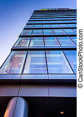 Looking up at the Bank building in downtown Wilmington, ...