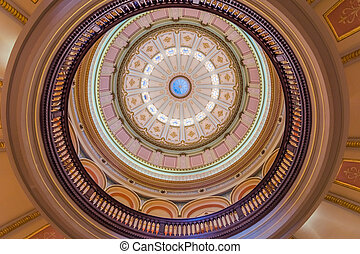 Looking up at the California State Capitol inner dome, Sacramento, California