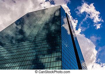 Looking up at the John Hancock Building in Boston, Massachusetts.