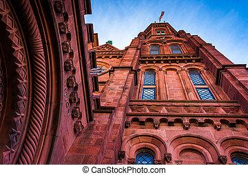 Looking up at the Smithsonian Castle, in Washington, DC.