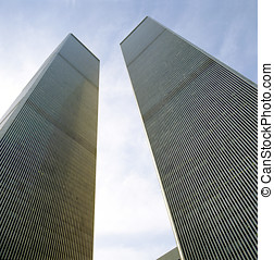 Looking Up at World Trade Center Towers from Ground - The...